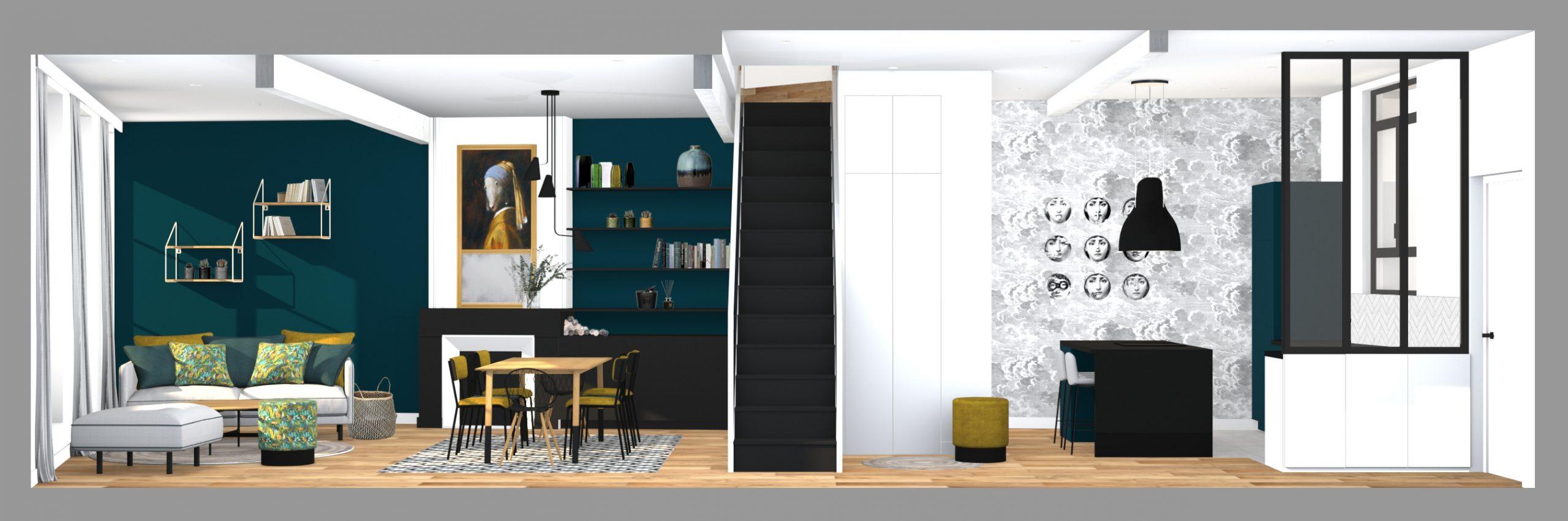 Bordeaux ✦ 2020 ✦ Rénovation complète d'un appartement avec cave-à-vin sur mesure